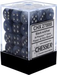 36 Black w/silver Phantom 12mm D6 Dice Block - CHX27888