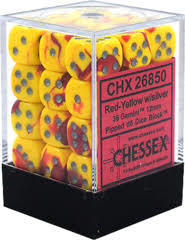 CHX 26850 - 36 Red-Yellow w/ Silver 12mm d6 Dice