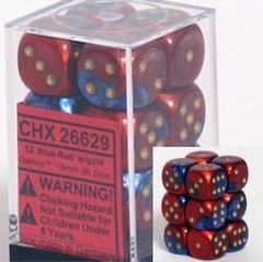 CHX 26629 - 12 Blue-Red w/ Gold 16mm d6 Dice