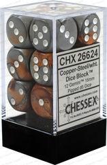 CHX 26624 - 12 Copper Steel w/ White Gemini 16mm d6 Dice