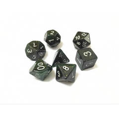 HD058 - 7 Polyhedral Deep Glitter Green Dice