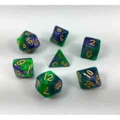 HD110 - 7 Polyhedral Marbled Deep Sea Dice