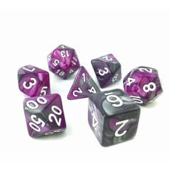 HD134 - 7 Polyhedral Marbled Midnight Dice