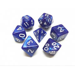 HD067 - 7 Polyhedral Pearl Blue Dice