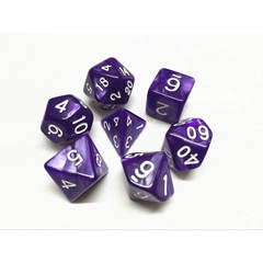 HD066 - 7 Polyhedral Pearl Purple Dice