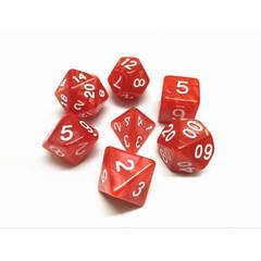 HD068 - 7 Polyhedral Pearl Red Dice