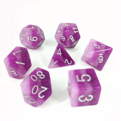 HDL-07 - 7 Purple w/ Silver Layered Polyhedral Dice
