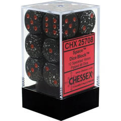 CHX 25708 - 12 Space Speckled 16mm d6 Dice