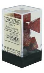 CHX 27504 - 7 Polyhedral Ruby w/ Gold Glitter Dice