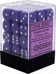 CHX 25807 - 36 Purple w/ White Opaque 12mm d6 Dice