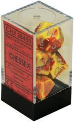 CHX 26450 - 7 Polyhedral Red-Yellow w/ Silver Gemini Dice