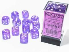 CHX 27777 - 12 Purple w/ White Borealis Glow-in-the-Dark Polyhedral Dice