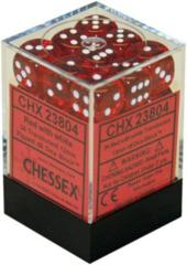 CHX 23804 - 36 Red w/ White Translucent 12mm d6 Dice