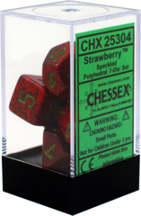 CHX 25304 - 7 Polyhedral Strawberry Speckled Dice