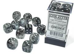 CHX 27778 - 12 Light Smoke w/ Silver Borealis Glow-in-the-Dark Polyhedral Dice