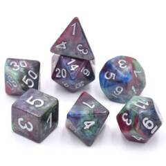 HDM-02 - 7 Red, Green & Blue w/ Silver Marbled Polyhedral Dice