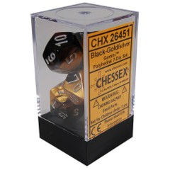 CHX 26451 - 7 Polyhedral Black-Gold w/ Silver Gemini Dice