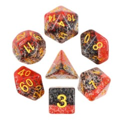 HDPA-01 - 7 Red & Black w/ Gold Translucent Particle Polyhedral Dice