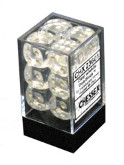 CHX 23601 - 12 Clear w/ White 16MM d6 Dice