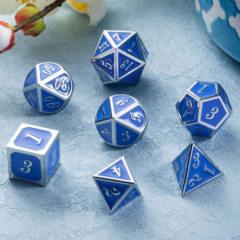 DAD513 - 7 Azure w/ Silver Metal Polyhedral Dice