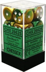 CHX 26625 - 12 Gold-Green w/ White Gemini 16mm d6 Dice
