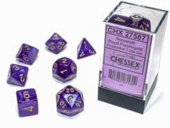 CHX 27587 - 7 Royal Purple w/ Gold Borealis Glow-in-the-Dark Polyhedral Dice