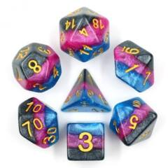 HDL-20 - 7 Blue, Fucsia & Black w/ Gold Layered Polyhedral Dice