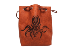 Brown Leather Cthulhu Dice Bag