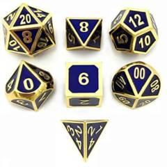 DAD502 - 7 Blue w/ Gold Metal Polyhedral Dice