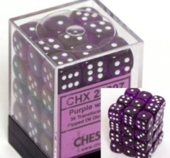 CHX 23807 - 36 Purple w/ White Translucent 12mm d6 Dice