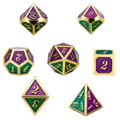 DAD519 - 7 Green & Purple w/ Gold Metal Polyhedral Dice
