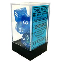 CHX 27426 - 7 Polyhedral Sky Blue w/ White Borealis Dice