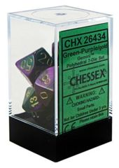 CHX 26434 - 7 Polyhedral Green-Purple w/ Gold Gemini Dice