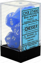 CHX 27406 - 7 Polyhedral Blue w/ White Frosted Dice