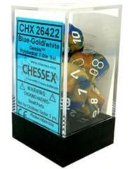 CHX 26422 - 7 Polyhedral Blue-Gold w/ White Gemini Dice