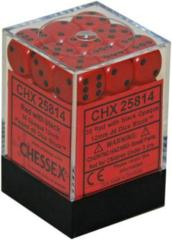 CHX 25814 - 36 Red w/ Black Opaque 12mm d6 Dice