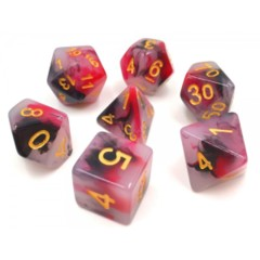HDJ-13 - 7 Black & Red w/ Gold Jade Polyhedral Dice