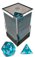 CHX 23085 - 7 Polyhedral Teal w/ White Translucent Dice