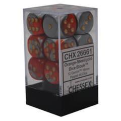 CHX 26661 - 12 Orange & Steel w/ Gold Gemini 16mm d6 Dice