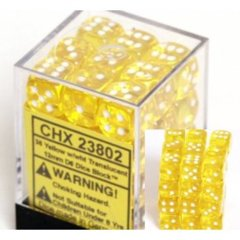 CHX 23802 - 36 Yellow w/ White Translucent 12mm d6 Dice
