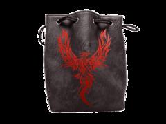 Black Leather Phoenix Dice Bag