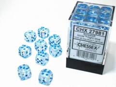 CHX 27981 - 36 Icicle w/ Light Blue Borealis Glow-in-the-Dark Polyhedral Dice