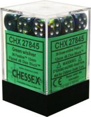 CHX 27845 - 36 Green w/ Silver Festive 12mm d6 Dice