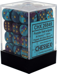 CHX 26849 - 36 Purple-Teal w/ Gold Gemini 12mm d6 Dice