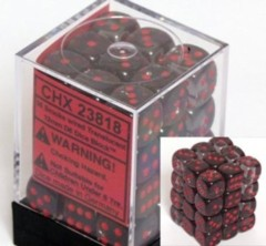 CHX 23818 - 36 Smoke w/ Red Translucent 12mm d6 Dice