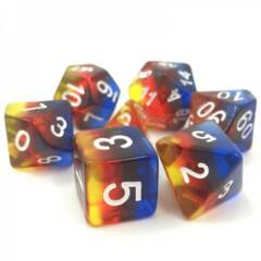 HDTL-05 - 7 Yellow, Red, & Blue w/ White Translucent Layered Polyhedral Dice