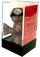 CHX 25344 - 7 Volcano w/ Silver Speckled Polyhedral Dice