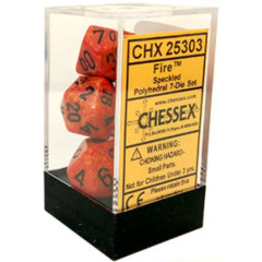 CHX 25303 - 7 Polyhedral Fire Speckled Dice