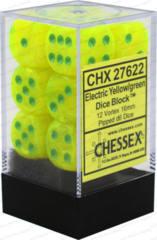 CHX 27622 - 12 Electric Yellow w/ Green Vortex 16mm d6 Dice