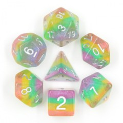 HDI-16 - 7 Rainbow w/ Silver Fairy Dust Iridescent  Polyhedral Dice